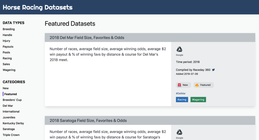 Screenshot of Horse Racing Datasets site