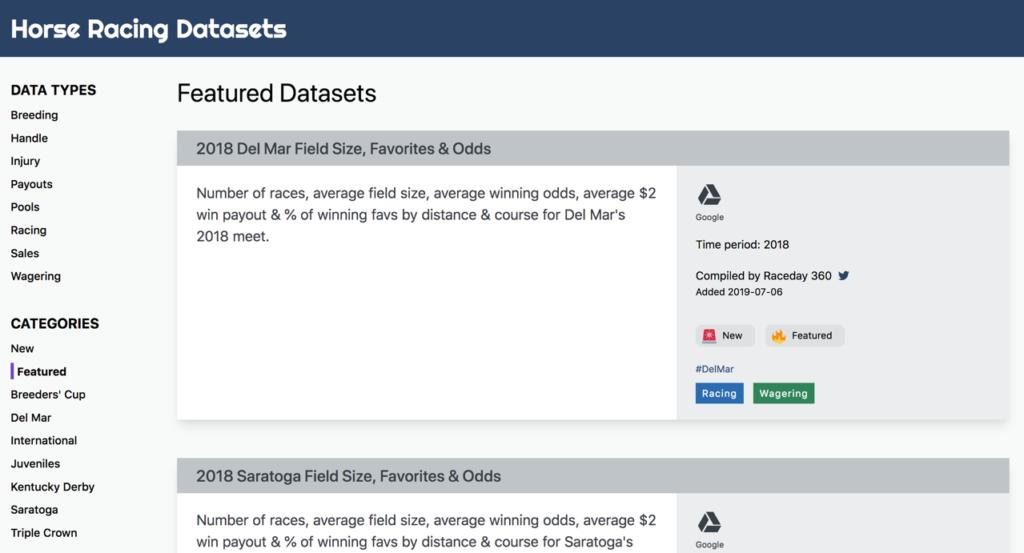 Screenshot of Horse Racing Datasets site